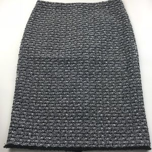 J. Crew Black and White Pencil Skirt with Fringe